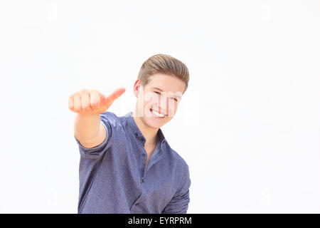 young man, gesture, thumb high - Stock Photo