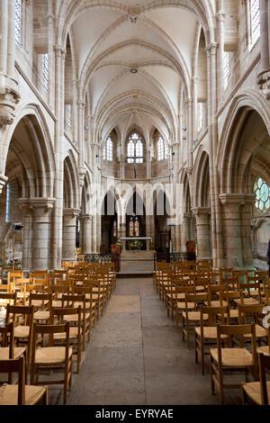 Interior, Notre lady in Saint-Père-sous-Vézelay, France - Stock Photo