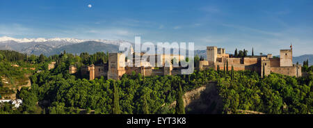 Panorama of snow on Sierra Nevada Mountains and Alhambra Palace fortress Granada - Stock Photo