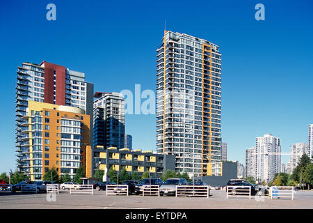 Yaletown, Vancouver, BC, British Columbia, Canada - Highrise Condominium / Condo Buildings, Summer - Stock Photo