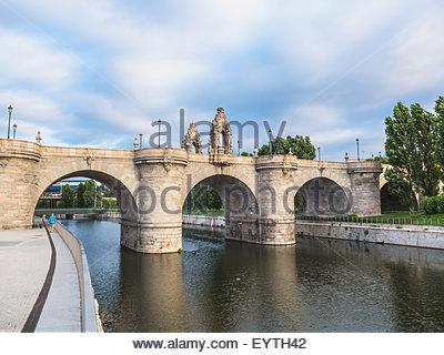 Puente de Toledo over river Manzanares. Madrid, Spain - Stock Photo