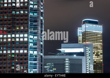 Germany, Hesse, Frankfurt am Main, architecture detail of the Messeturm (Trade Fair Tower), Castor, Pollux and the - Stock Photo
