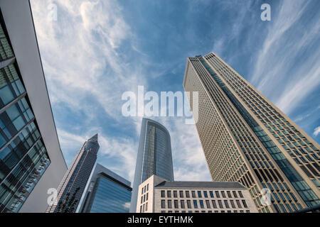 Germany, Hesse, Frankfurt am Main, high-rise office blocks, Messeturm (Trade Fair Tower), Castor, Pollux, Tower - Stock Photo