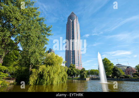 Germany, Hesse, Frankfurt am Main, Messeturm (Trade Fair Tower) and banquet hall in the west - Stock Photo