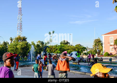 Street view of the city of Lubango, Angola from the main square - Stock Photo