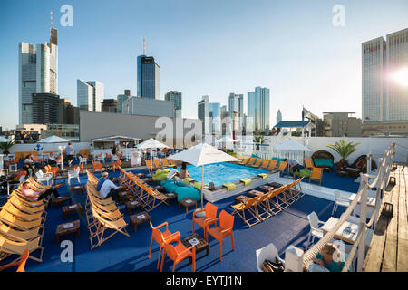 pool on a roof terrace with the skyscraper of the harbour grand stock photo royalty free image. Black Bedroom Furniture Sets. Home Design Ideas