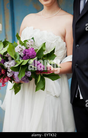 Bridal couple, cropped picture, detail without faces, - Stock Photo