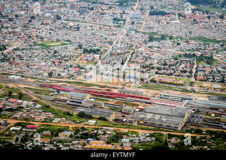 Aerial view of the city of Lubango, Angola, and focus on the train station - Stock Photo