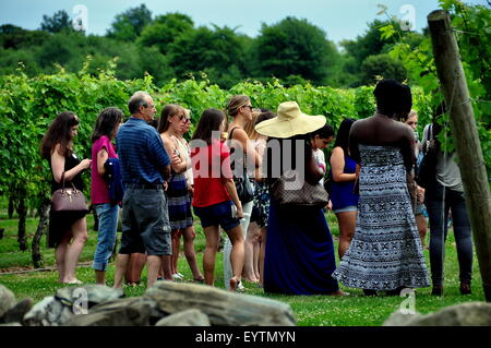 Middletown, Rhode Island:  Visitors on a tour at the renowned Newport Winery vineyards learn about viticulture - Stock Photo