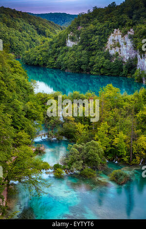 Plitvice Lakes National Park is one of the oldest national parks in Southeast Europe and the largest national park - Stock Photo
