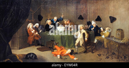 William Hogarth, A Midnight Modern Conversation. Circa 1732. Oil on canvas. Yale Center for British Art, New Haven, - Stock Photo