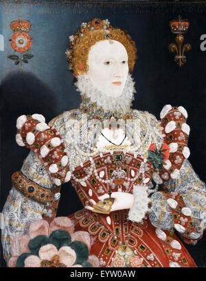 Nicholas Hilliard, Portrait of Queen Elizabeth I. Circa 1573-1575. Oil on wood panel. Walker Art Gallery, Liverpool, - Stock Photo