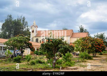 Catholic mission of Jau, Huila province, Angola - Stock Photo
