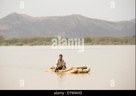 Fisherman on Lake Chamo, Nechisar National Park, Ethiopia - Stock Photo
