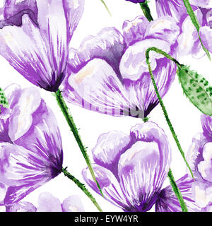 Hand-painted seamless texture with violet flowers on white backgroung for textile, wallpaper and romantic design. - Stock Photo