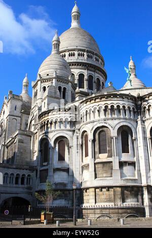 Basilica of Sacré-Cœur, as seen from Rue de la Bonne in Paris, France. - Stock Photo