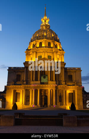 Les Invalides in Paris, France, at Blue Hour. - Stock Photo