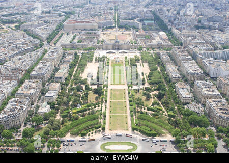 View South East from the top of the Eiffel Tower, down the Champ de Mars with  École Militaire in the background. - Stock Photo