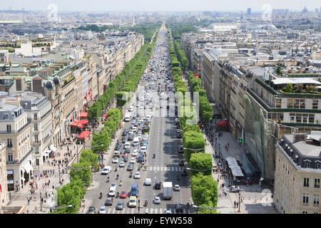 Avenue des Champs-Élysées as seen rom the observation deck of the Arc de Triomphe de l'Étoile in Paris, France. - Stock Photo