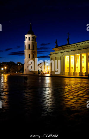 View at night of the Cathedral and the Bell Tower in the Cathedral square in the old district of Vilnius the capital - Stock Photo