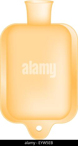 Hot water bottle in light orange design - Stock Photo