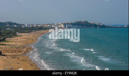 Panorama of Vieste beach, Gargano natural park, Puglia, Italy - Stock Photo