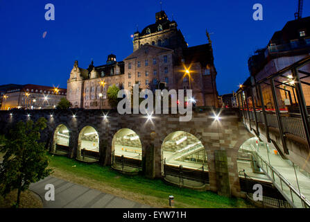 Nuremberg, Germany. 03rd Aug, 2015. View of the 'Opernhaus' (opera house) during blue hour in Nuremberg, Germany, - Stock Photo