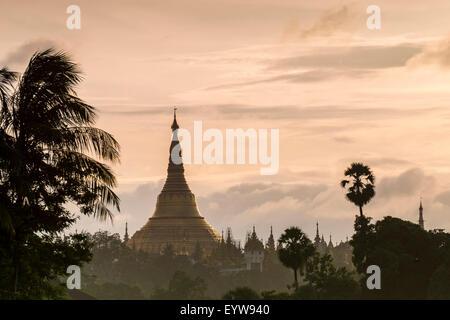Golden stupa at sunset, chedi, Shwedagon Pagoda, Kandawgyi Lake, Kandawgyi Nature Park, Yangon or Rangoon, Yangon - Stock Photo
