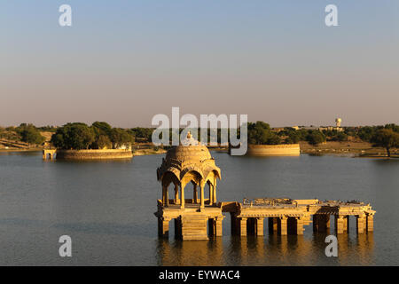 Pavillon with Ghat, Gadisar Lake, Gadi Sagar, Jaisalmer, Rajasthan, India - Stock Photo