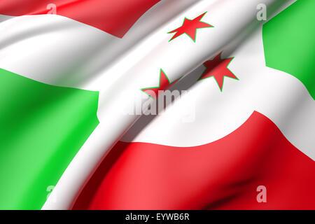 3d rendering of a Burundi flag - Stock Photo