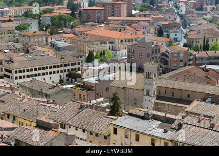 Panoramic view of Colle di Val d'Elsa, Tuscany, Italy, Europe - Stock Photo