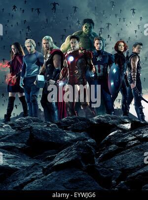 Avengers : Age of Ultron ; Year : 2015 USA ; Director : Joss Whedon ; Elizabeth Olsen, Aaron Taylor-Johnson, Chris - Stock Photo