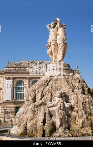 The statue of three graces in the Place de la Comédie, Montpellier,  France, Europe - Stock Photo
