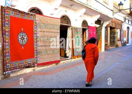 Carpet shop, The Medina, Rabat, Morocco, North Africa, Africa - Stock Photo