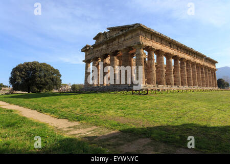 Temple of Neptune, 450 BC, largest and best preserved Greek temple at Paestum, UNESCO World Heritage Site, Campania, - Stock Photo