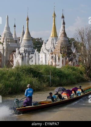 Tourists on a boat in Inle Lake, Shan State, Myanmar (Burma), Asia - Stock Photo