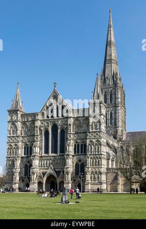 Cathedral, Salisbury, Wiltshire, England, United Kingdom, Europe - Stock Photo