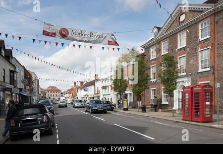 Old Post Office Building and High Street, Marlow, Buckinghamshire, England, United Kingdom, Europe - Stock Photo