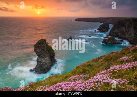 Bedruthan Steps, Newquay, Cornwall, England, United Kingdom, Europe - Stock Photo