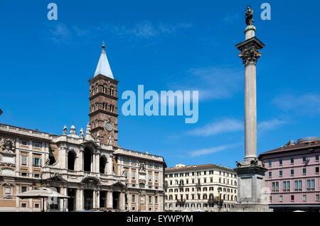 Marian Column and Basilica Santa Maria Maggiore, Rome, Lazio, Italy, Europe - Stock Photo