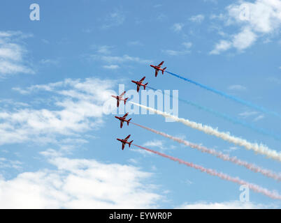 The Red Arrows at the VE Day Anniversary Air Show at Duxford, Cambridgeshire, England, United Kingdom, Europe - Stock Photo