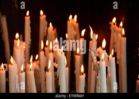 Sanctuary candles, Lourdes, Hautes Pyrenees, France, Europe - Stock Photo