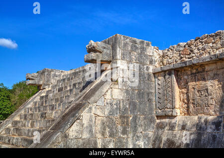 Stairway with serpent heads, Platform of Venus, Chichen Itza, UNESCO World Heritage Site, Yucatan, Mexico, North - Stock Photo