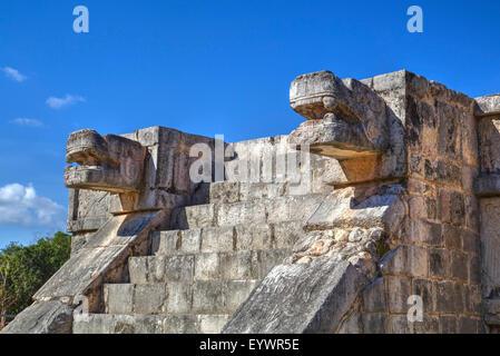Platform of the Eagles and Jaguars, Chichen Itza, UNESCO World Heritage Site, Yucatan, Mexico, North America - Stock Photo