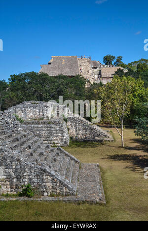 Structure 17 in the foreground with The Acropolis behind, Ek Balam, Mayan archaeological site, Yucatan, Mexico, - Stock Photo