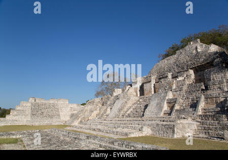 Patio Puuc in the foreground, and Northeastern Temple behind, Edzna, Mayan archaeological site, Campeche, Mexico, - Stock Photo