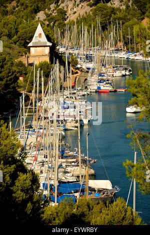 Port-Miou marina, Cassis, Bouches du Rhone, Provence, France, Europe - Stock Photo