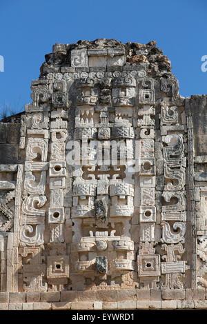 Chac Rain God masks, Nuns Quadrangle, Uxmal, Mayan archaeological site, UNESCO World Heritage Site, Yucatan, Mexico - Stock Photo