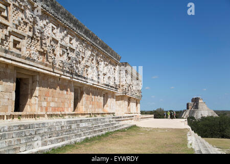 Palace of the Governor with Pyramid of the Magician in the background, Uxmal, Mayan archaeological site, UNESCO, - Stock Photo