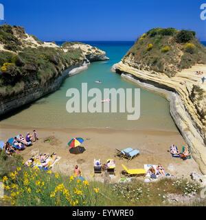 View of beach, Canal d`Amour, Sidari, north coast, Corfu, Ionian Islands, Greek Islands, Greece, Europe - Stock Photo